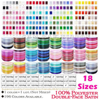 Wholesale Satin Yards - 100 Yards Double Face Satin Ribbons 18 SIZES 196 Colors AVAILABLE,Superior Quality For DIY Craft,Zakka,Hair,Sewing,Packaging,Wedding Party