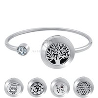 Wholesale Stainless Magnet - 20mm With Magnet Can Wiggle Up and Down Aroma Locket Stainless Steel Bangle Essential Oils Diffuser Locket Bracelet (Dropship)