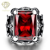 Wholesale Large Crystal Silver Rings - Superman Ring Fashion Large 316L Stainless Steel Ring Silver Plated Black Red Dragon Claw Knight Vintage Gothic Jewelry for Men