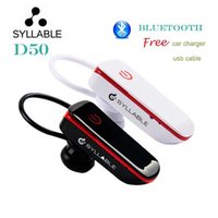 sports cable cars - 5PCS Original Syllable D50 Bluetooth Headphones Stereo Sport Earphone Ear hook Wireless Headsets with USB Cable Car Charger DHL Free