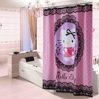 Wholesale Hello Bathroom - Wholesale 180*180CM Hello Kitty Cartoon Shower Curtains Polyester Fabric Waterproof Bathroom Bath Curtain with Hooks Bathroom Accessories