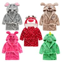 Wholesale woolen flannel - Children Cartoon animal Hoodie Coral Fleece Bathrobe Unisex Kids cute animal Robe Pajamas Sleepwear Flannel Nightgown