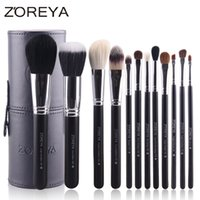 Wholesale Makeup Brushes Cup Leather - 12pcs Natural Goat Hair Makeup Brushes Kit Holder Convenient Leather Cup Makeup Blusher Foundation Powder Eyeshadow Brush Set