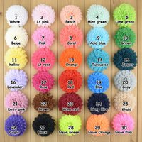 Wholesale Tulle Flowers Clips - Baby Girls Lace Mesh Tulle Fabric Big Flowers hair clips Kids DIY headbands Christmas Headwear Hairpin Hair Accessories 30colors
