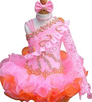 Wholesale Hot Girls Cupcake Pageant Dresses - Little Princess Girls Pageant Dresses Hot Fixed Rhinestones Beaded Handmade Flowers Toddler Glitz Mini Cupcake Gorgeous