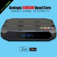 Wholesale Lcd Tvs Wholesale - New Amlogic S905W A95X R2 Android 7.1 TV BOX 2GB 16GB Quad Core KD 17.3 LCD Display HD 4K 3D WiFi Media Player Boxes Better S905X X96 mini