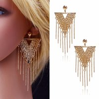 Wholesale Brass Jewerly - 1 Pair New Big Women Earrings Exaggerated Alternative Fashion Drop Earrings Gold Plated Jewerly For Women Girl Best Gift
