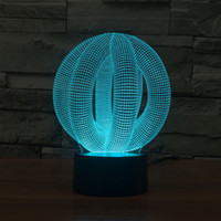 2017 3D Ball Style 3D Optical Night Light 9 LED Night Light DC 5V Factory Wholesale