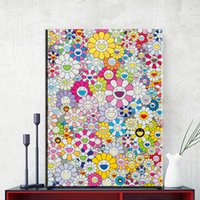 abstrakte gemälde wellen großhandel-ZZ1856 Moderne Kunst Malerei Takashi Murakami Sonne Ölgemälde Dekoration Wandkunst für Leinwand Artwork Wand dekorative Malerei Kunst