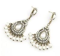 Wholesale Stud Pearl Earrings Droplets - Boutique Elegance Women Earrings White Pearl Droplets Shape Stud 10PRS Lady Fashion Earrings Free Shipping