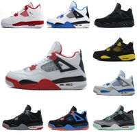 Cheap Air Retro 4 Chaussures de basket-ball homme 4s Pure Money Royalty White Ciment Bred Militaire Blue Fire Red Premium Black Sports Sneakers