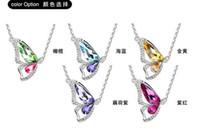 moda jóias pingente de colar de diamantes venda por atacado-Meia Borboleta de Cristal Colares de Diamantes Borboleta Pingente de Jóias de Cristal Austríaco Banhado A Moda Borboleta De Cristal Colares de Jóias