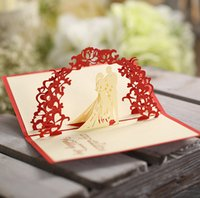 Wholesale Sale Wedding Invitation Card - Wedding creative gifts handmade wedding invitations Korean wedding card paper valentine day 3D greeting cards sale