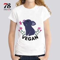 Wholesale Happy T Shirt - Vegan Happy Piglet Funny Harajuku tshirt girl fashion women short sleeve T-Shirt casual new hipster kawaii Tops WDR578