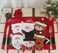 Wholesale Tableware Kids Knife Fork - Christmas decoration restaurant hotel layout knife and fork bag creative tableware set old man snowman knife and fork set Christmas Toy