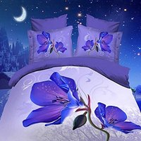 Wholesale Magnolia 3d Bedding - Bed Cover New Arrival 4 Pcs Full Same As Picture Duvet Cover 2016 New Inamazing Purple Magnolia Flower Print 4 Piece Polyester Bedding Sets