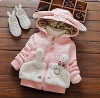 Wholesale Girls Bow Design Coat - Wholesale New Rabbit Design Fashion Girls Winter Plush Coat Kids Cotton Hooded Clothes Children Outwear Girls Tops