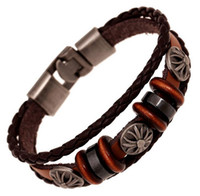 Wholesale leather braided bracelet bangle cross - Wholesale-Men Jewelry Bracelet Trendy Leather Braided Bracelets Cross Charm Bangles Male Fashion Vintage Accessories BestFriend gift