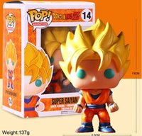 Wholesale Dragon Balls - New hot sale Q version FUNKO Pop new Dragon Ball Z Super Saint Seiya Goku Son Gokou Boxed PVC Collection 10CM