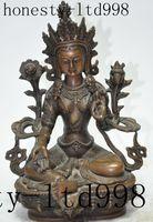 Wholesale kwan yin statues - christmas tibet buddhism bronze fane lotus green Tara kwan-yin Bodhisattva Goddess statue halloween