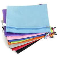 Wholesale Plastic Document File - 5pcs lot Raibow Color Gridding Document Bag With Zipper Multilayers Zipper Filing Products A4 Folder School Office Supplies Papelaria