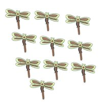 Wholesale Wholesale Iron Dragonflies - 10PCS brown dragonfly embroidery patches for clothing iron patch for clothes applique sewing accessories stickers badge on cloth iron on pat