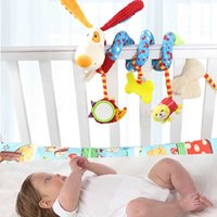 Vente en gros - Lovely Interestful Baby Rattles Poupée Infantile Baby Crib Poussette Jouet Peluche Oiseaux Musical Ringing Newborn Bed Dog Hanging Soft Play