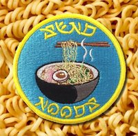 Wholesale japanese clothes free shipping - JAPANESE NOODLES Interesting Embroidered Iron on Patch Favorite Badge DIY Applique Clothing Patch Backpack Clothes Emblem Free Shipping
