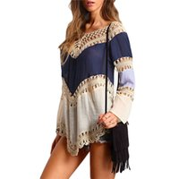 camisa longa comprida feminina venda por atacado-Oco Out Color-bloco Crochet Loose Summer Tops Mulheres Shirts Assimétrico Multicolor V-Neck Long Sleeve Blusa