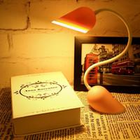 Wholesale 14 Lithium Battery - Sensor LED Heart Desk Lamp Portable Flexible 14 LED Lights 3 Modes of Lightness 500mAh Lithium Battery Touch Switch