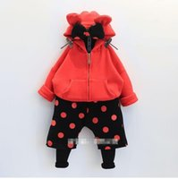 Wholesale Micky Pant - Children Girls Dotted Long Sleeve Hoodies With Hat + Pants Legging 2 pcs Outfits Girls Micky Suits Black Red Kids Cartoon Set B4310