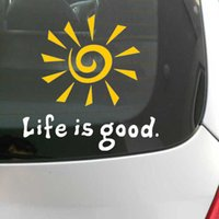 Wholesale Good Windows Phone - FUN LIFE IS GOOD RISING SUN DECAL WINDOW CAR LAPTOP STICKER Vinyl funny Car phone window Decal Sticker reflective yellow color