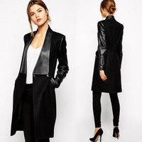 Wholesale Long Leather Woman Trench - Fashion Black Trench Coat For Women Slim Woolen Faux Leather Patch Long Blazer Jacket Elegant Ladies Winter Work Coats CQF0934