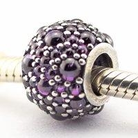 925 sterling silber phantasie großhandel-Schimmernde Droplets Fancy lila CZ 100% 925 Sterlingsilber-Korn-passende Pandora Fashion Jewelry DIY-Charme-Marke