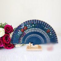 Wholesale Cheap Wood Flowers - Elegant Flower Fans Spanish Style Performance Hand Accessories Carving Craft Chinese Fans Handmade Painting Fans Top Quality Cheap 2017