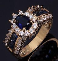 anillo de piedras preciosas 18k boda al por mayor-Anillos de piedras preciosas Tamaño 6,7,8,9,10,11,12 Mujeres Zafiro azul Cz 18K Boda llena de oro Anillos maravillosamente