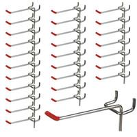 Wholesale metal hangers wholesale - MTGATHER 25pcs 100mm Pegboard Hooks Slat Wall Retail Display Shop Peg Hang Fits 19mm Home Hanger Chrome Metal 1~1.5KG Loading