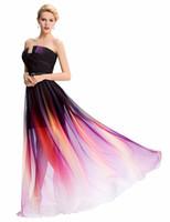 ombre kat uzunluğu balo elbisesi toptan satış-Ombre renkli uzun gelinlik modelleri İmparatorluğu 2019 lüks şifon örgün elbise elbisesi kat uzunluk ünlü bayanlar balo elbise Abiye