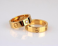 Wholesale couple ring - Fashion Famous C Brand mm Stainless Steel Ring Birthday Gift Jewelry Gold Ring for Lover