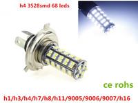 Wholesale Lamp Led H16 - h1 h3 h4 h7 9005 9007 H8 h11 h16 LED 68 SMD3528 Car vehicle LED White Fog Light Headlights Driving Lamps 12VDC