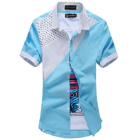 Wholesale Green Chemises - Wholesale-2016 Summer New Design Mens Casual Short Sleeve Patchwork Shirt Dot Printing Sports And Outdoor Easy Care Chemise Homme Hot Sale