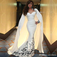 Wholesale Slimming Arabic Dress - 2017 Myriam Fares Slim Arabic White Mermaid Evening Dresses With Cape Long Sleeves Embroidery Musilm Prom Party Gowns Evening Wear BA3542