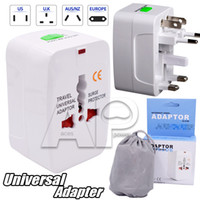 Wholesale Wall Outlet Adapters - All in One AC Universal Travel Wall Plug Adapter World Wide Slim Portable Smart Outlet Charger Surge Protector
