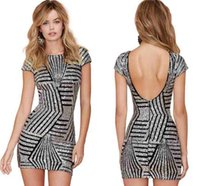 Wholesale Sexy Night Wear Plus - 2016 New Sexy Grey Gold Sequins Night Club Dresses Short Sleeves Backless Bodycon Dresses Women Party Wear Plus Size Free Shipping FS0096