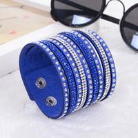 knöpfe für wickelarmbänder großhandel-Mode Multilayer Wrap Armbänder 15 Farben Coole Funkelnde Lederarmband Charme Armbänder Armreifen Für Frauen Tasten