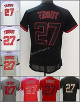 2017 Los Angeles Angels # 27 Mike Trout flex base Home Away Baseball Jersey Bianco Rosso Grigio Crema Beige Cool Maglia cucita base