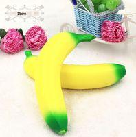 Wholesale Banana Phones - Wholesale 100pcs Squishy 18cm Banana Fruit Slow Rising Xmas Decoration Cute Jumbo Simulate Phone Straps Squeeze Stress Stretch Kids Toy Gift