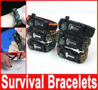 Wholesale Survival Bracelet Whistle Buckles - Survival Bracelets Flint Fire Starter Paracord Whistle Gear Buckle Camping Ignition Escape Bracelet Whistle Compass Kit Hot selling