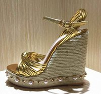 Wholesale Mary Pearl - Bohemia Pearl Platform Gladiator Sandals Women Metallic Leather Knot Espadrille High Heels Pumps Ladies Summer Wedges Mary Jane Shoes
