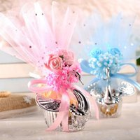 Wholesale acrylic wedding favors resale online - 100pcs European Styles Acrylic Silver Swan Sweet Wedding Gift Jewely Candy Box Candy Gift Boxes Wedding Favors Holders